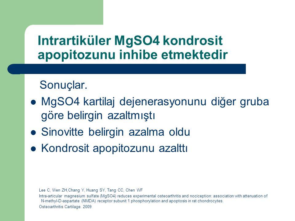 Intrartiküler MgSO4 kondrosit apopitozunu inhibe etmektedir Sonuçlar. MgSO4 kartilaj dejenerasyonunu diğer gruba göre belirgin azaltmıştı Sinovitte be
