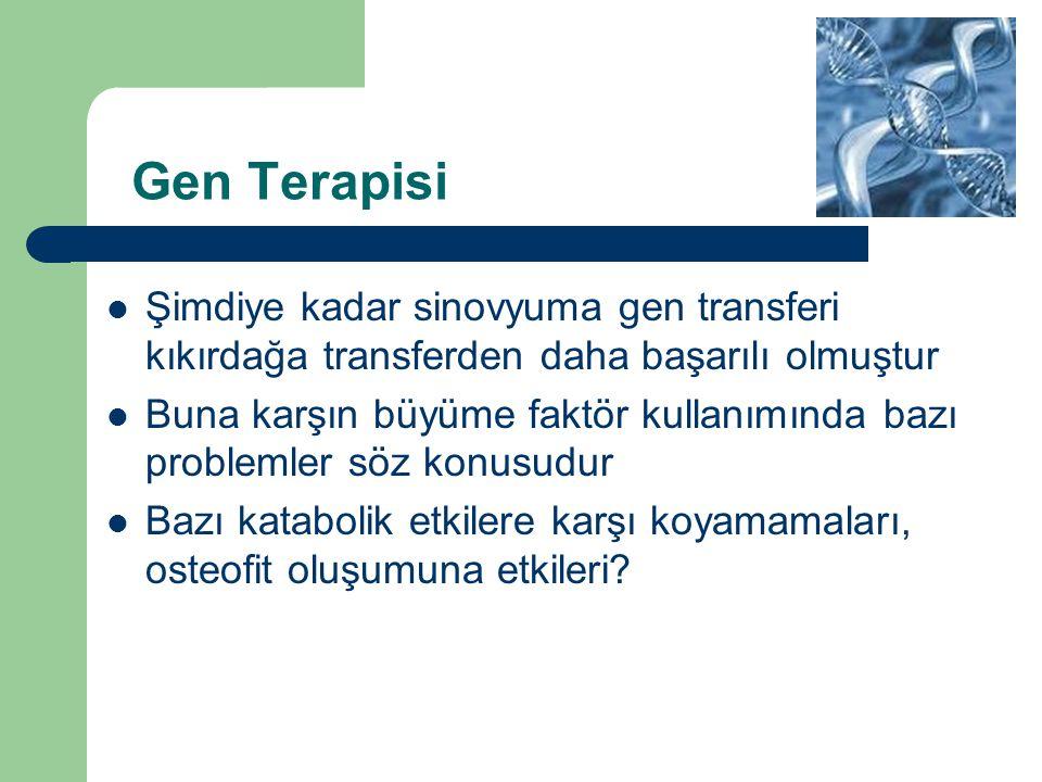 Gen Terapisi Şimdiye kadar sinovyuma gen transferi kıkırdağa transferden daha başarılı olmuştur Buna karşın büyüme faktör kullanımında bazı problemler
