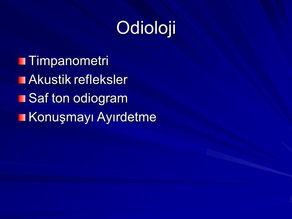 Odioloji Timpanometri Akustik refleksler Saf ton odiogram Konuşmayı Ayırdetme