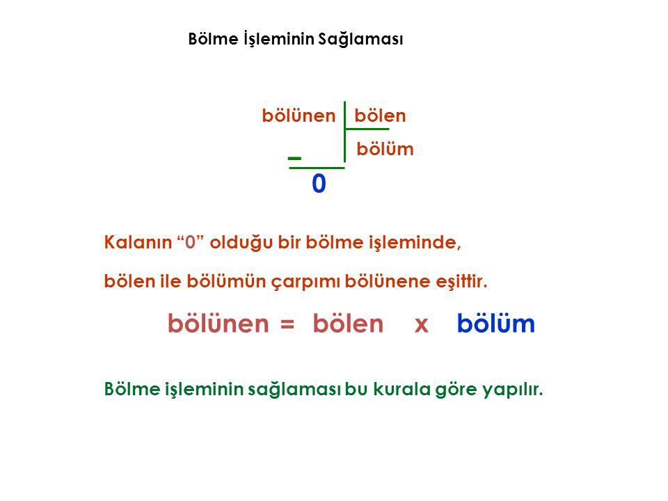 """Bölme İşleminin Sağlaması – bölünen bölen bölüm 0 Kalanın """"0"""" olduğu bir bölme işleminde, bölen ile bölümün çarpımı bölünene eşittir. bölünenbölümxböl"""