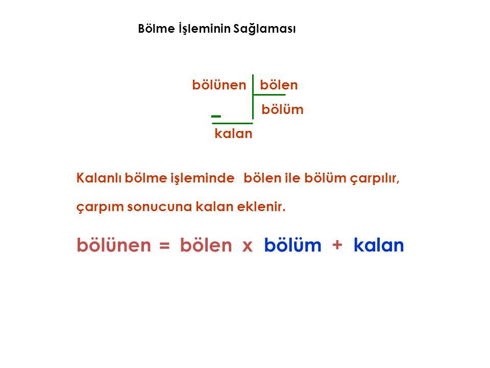 – bölünen bölen bölüm Kalanlı bölme işlemindebölen ile bölüm çarpılır, bölünenbölümxbölen = kalan kalan+ çarpım sonucuna kalan eklenir.