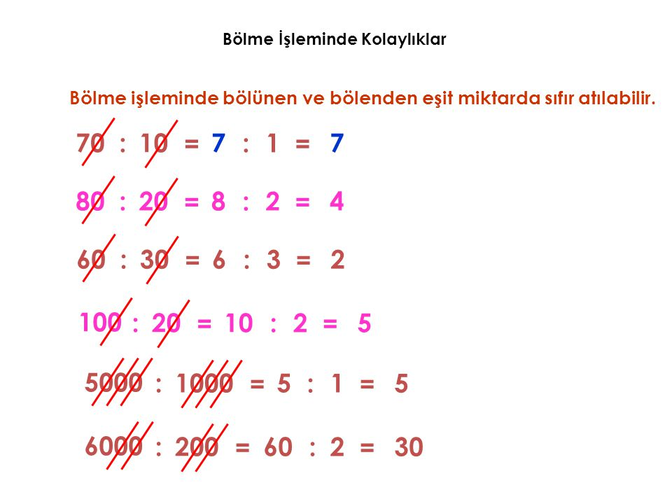 Bölme İşleminde Kolaylıklar Bölme işleminde bölünen ve bölenden eşit miktarda sıfır atılabilir. 707:10 = :1 = 7 808:20 = :2 = 4 606:30 = :3 = 2 100 10