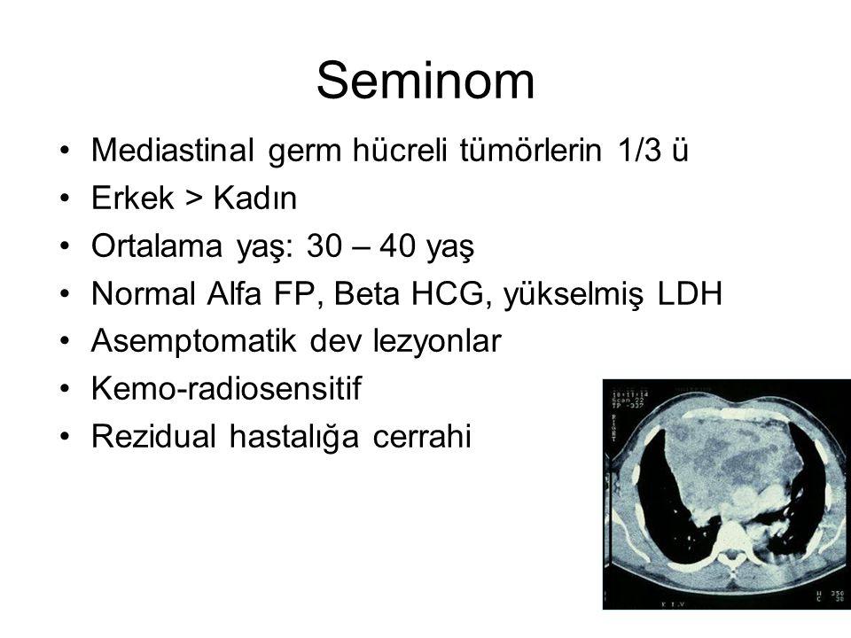 Seminom Mediastinal germ hücreli tümörlerin 1/3 ü Erkek > Kadın Ortalama yaş: 30 – 40 yaş Normal Alfa FP, Beta HCG, yükselmiş LDH Asemptomatik dev lez
