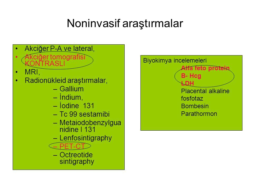 FDG PET-scan - Zayıf pozitif :Timoma - Kuvvetli pozitif: Tek lezyon Timoma Multiple kongromarule Lenfoma Octreotide-scan - Indium - 111- octreotide: Timoma