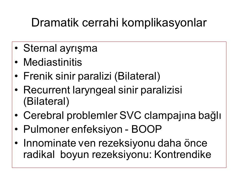 Dramatik cerrahi komplikasyonlar Sternal ayrışma Mediastinitis Frenik sinir paralizi (Bilateral) Recurrent laryngeal sinir paralizisi (Bilateral) Cere