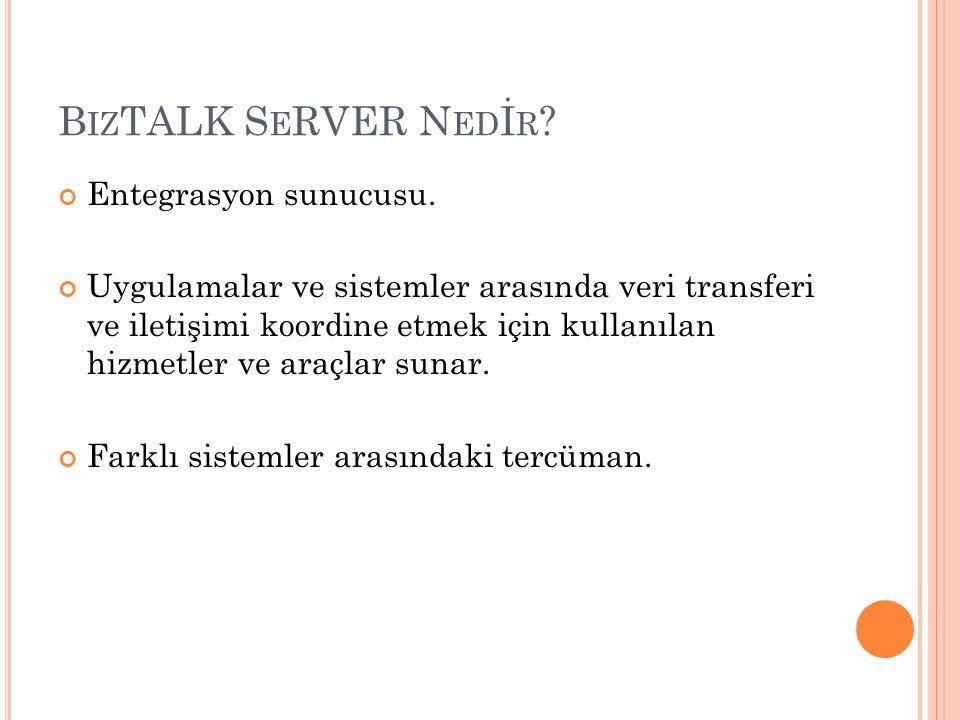 B IZ TALK S E RVER N ED İ R ? Entegrasyon sunucusu. Uygulamalar ve sistemler arasında veri transferi ve iletişimi koordine etmek için kullanılan hizme