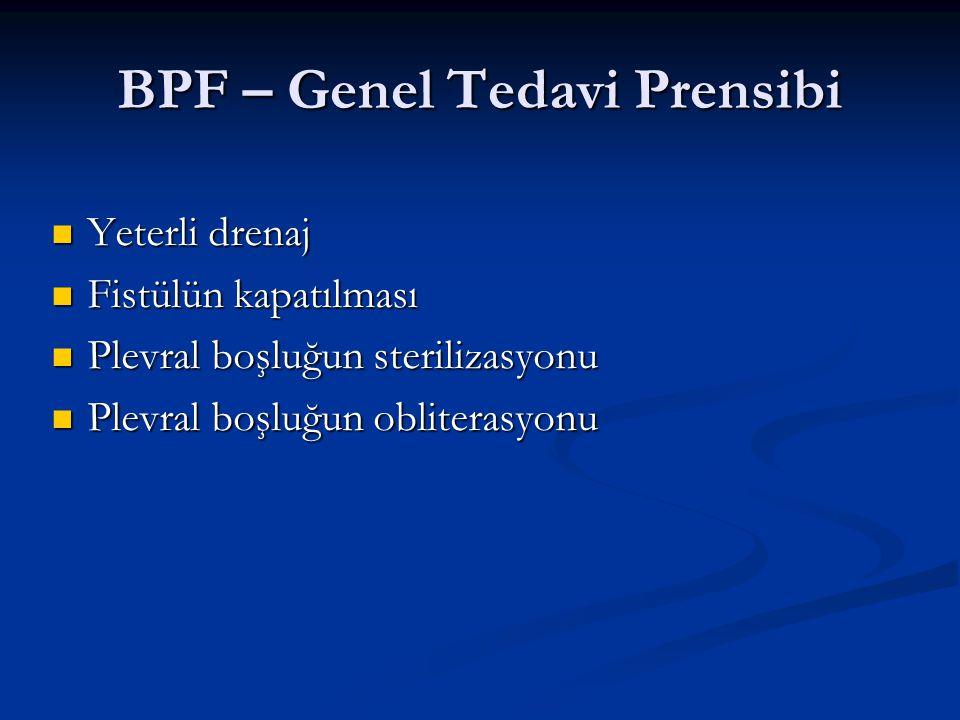 BPF – Genel Tedavi Prensibi Yeterli drenaj Yeterli drenaj Fistülün kapatılması Fistülün kapatılması Plevral boşluğun sterilizasyonu Plevral boşluğun s
