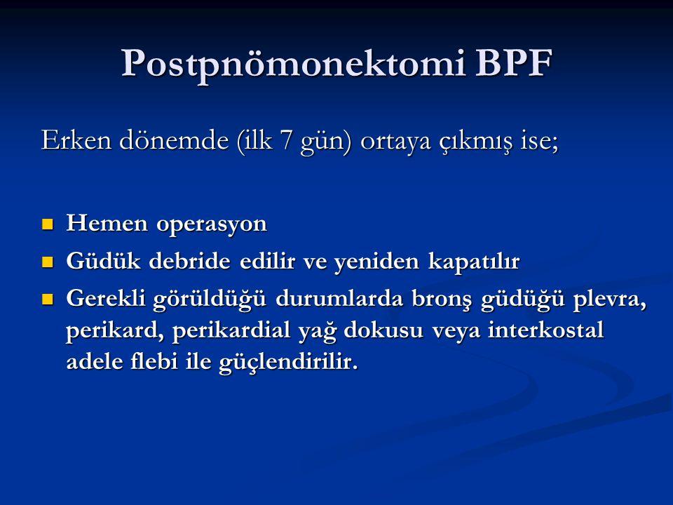 Postpnömonektomi BPF Erken dönemde (ilk 7 gün) ortaya çıkmış ise; Hemen operasyon Hemen operasyon Güdük debride edilir ve yeniden kapatılır Güdük debr