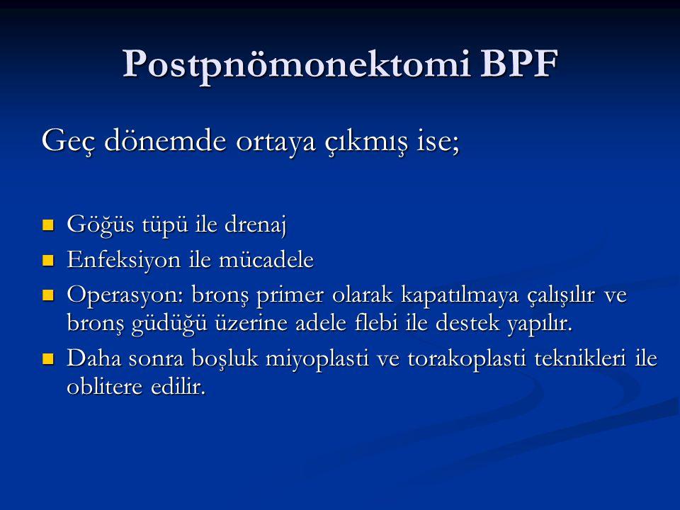 Postpnömonektomi BPF Geç dönemde ortaya çıkmış ise; Göğüs tüpü ile drenaj Göğüs tüpü ile drenaj Enfeksiyon ile mücadele Enfeksiyon ile mücadele Operas