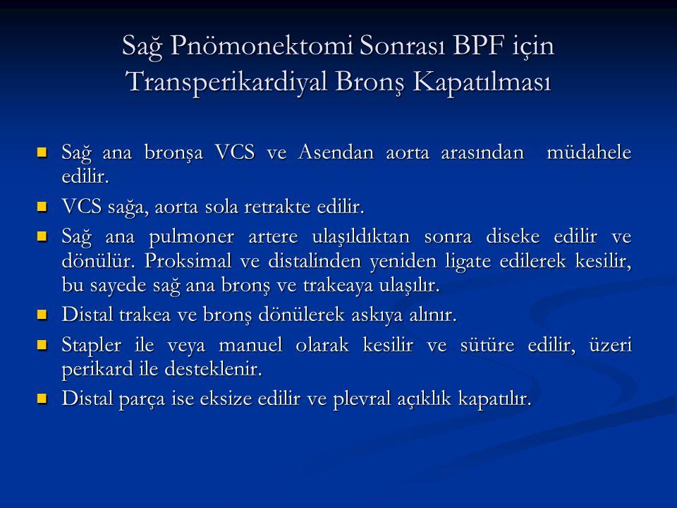Sağ Pnömonektomi Sonrası BPF için Transperikardiyal Bronş Kapatılması Sağ ana bronşa VCS ve Asendan aorta arasından müdahele edilir. Sağ ana bronşa VC