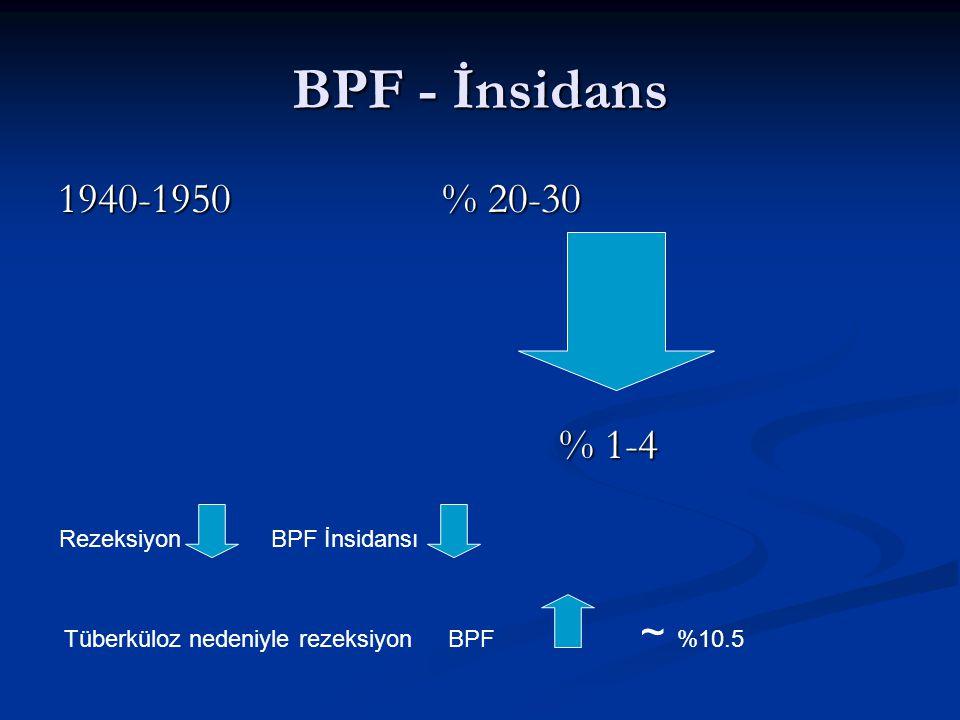 BPF - İnsidans 1940-1950% 20-30 % 1-4 % 1-4 Rezeksiyon BPF İnsidansı Tüberküloz nedeniyle rezeksiyonBPF ~ %10.5