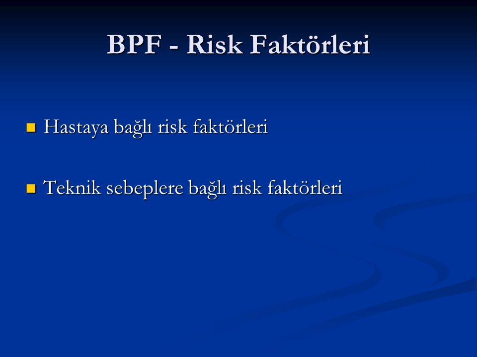 BPF - Risk Faktörleri Hastaya bağlı risk faktörleri Hastaya bağlı risk faktörleri Teknik sebeplere bağlı risk faktörleri Teknik sebeplere bağlı risk f