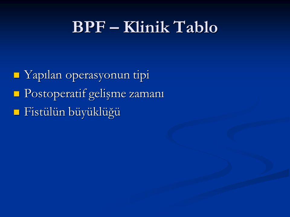 BPF – Klinik Tablo Yapılan operasyonun tipi Yapılan operasyonun tipi Postoperatif gelişme zamanı Postoperatif gelişme zamanı Fistülün büyüklüğü Fistül