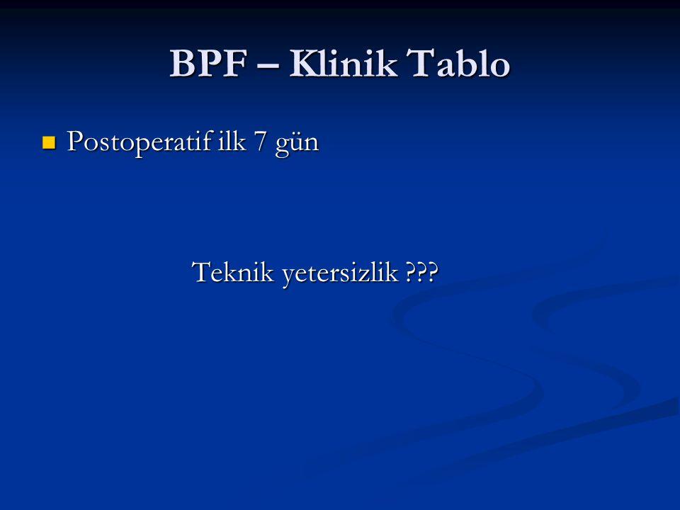 BPF – Klinik Tablo Postoperatif ilk 7 gün Postoperatif ilk 7 gün Teknik yetersizlik ??? Teknik yetersizlik ???
