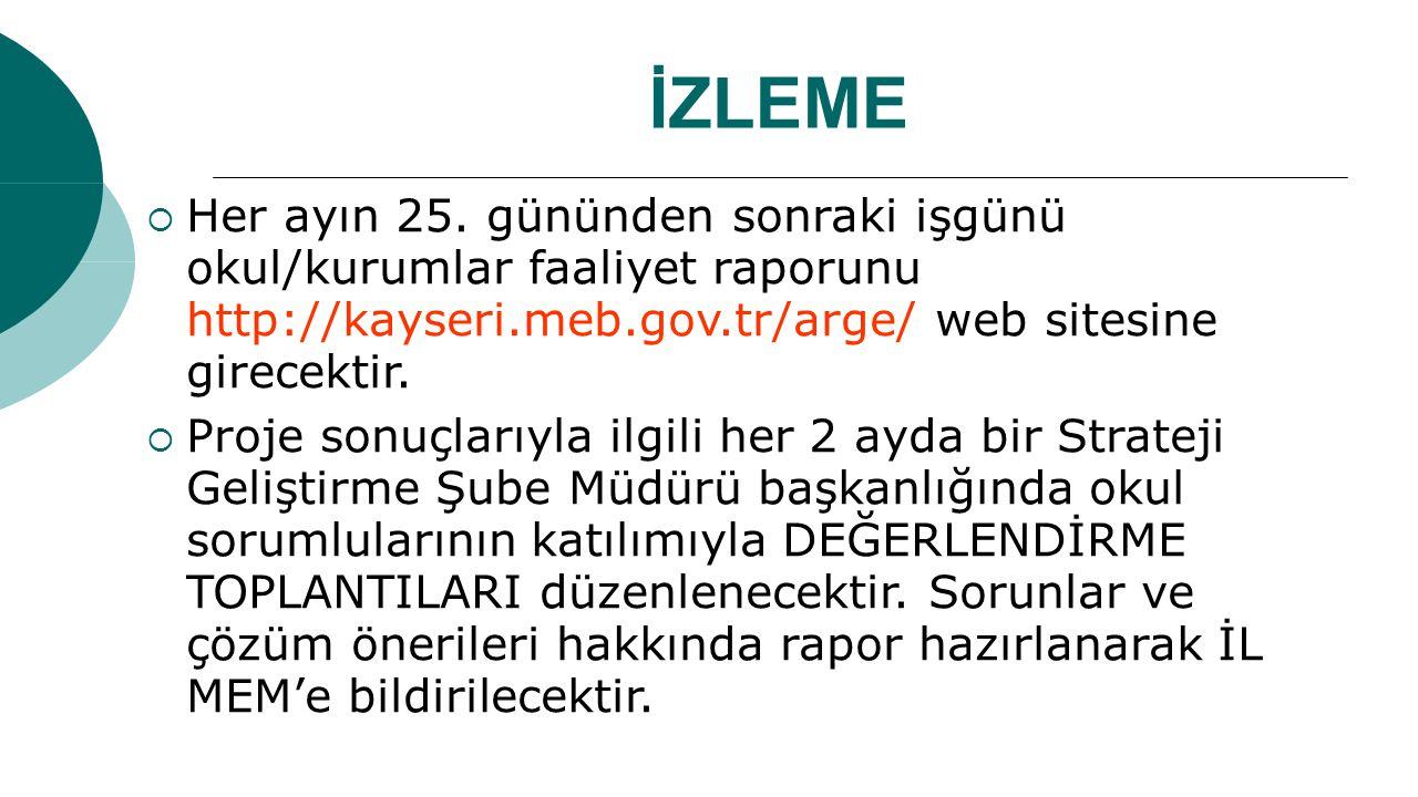İZLEME  Her ayın 25. gününden sonraki işgünü okul/kurumlar faaliyet raporunu http://kayseri.meb.gov.tr/arge/ web sitesine girecektir.  Proje sonuçla