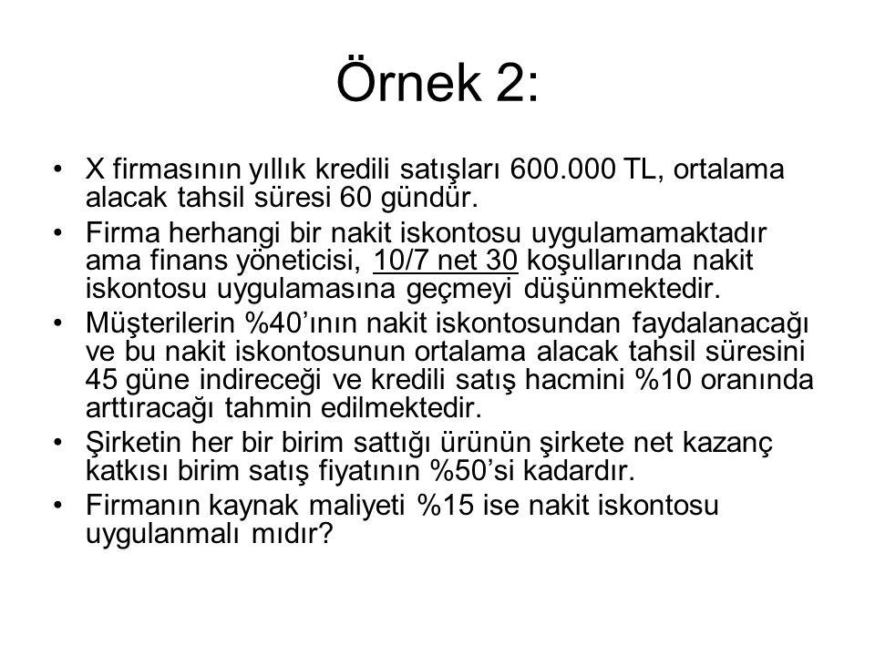 Çözüm: 1) Net Kazanç Artışı; 30.000 + 2.625 = 32.625 TL a) (600.000 x 0,10) x 0,50 = 30.000 TL b) 1.durum 600.000/ (360/60) = 100.000 TL 2.durum 660.000/ (360/45) = 82.500 TL 100.000 – 82.500 = 17.500 TL x 0,15 = 2.625 TL 2) Ek Maliyet; 26.400 TL 660.000 x %10 x %40 = 26.400 TL 3) Karşılaştırma; 32.625 > 26.400 = Proje KABUL !