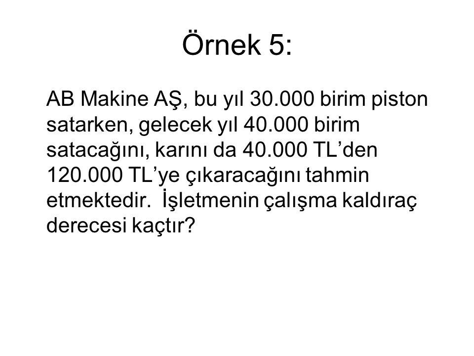Çözüm: (120.000-40.000)/40.000 ÇKD= = 6 (40.000-30.000)/30.000