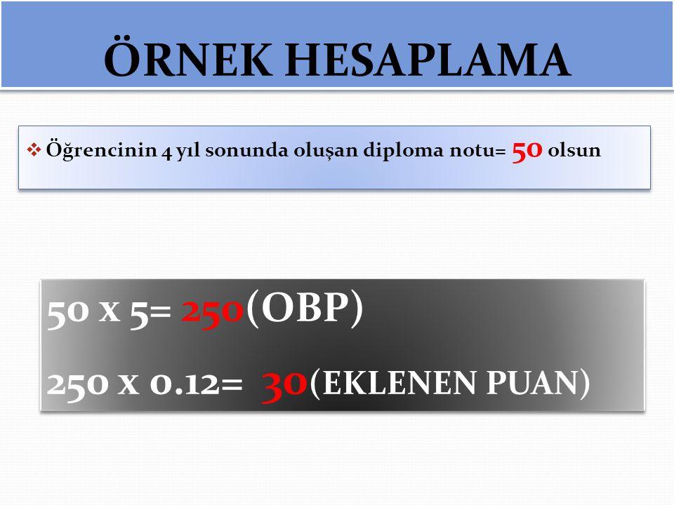 ÖRNEK HESAPLAMA  Öğrencinin 4 yıl sonunda oluşan diploma notu= 50 olsun 50 x 5= 250(OBP) 250 x 0.12= 30 (EKLENEN PUAN) 50 x 5= 250(OBP) 250 x 0.12= 3