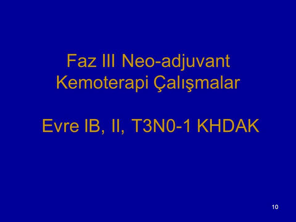 10 Faz III Neo-adjuvant Kemoterapi Çalışmalar Evre IB, II, T3N0-1 KHDAK