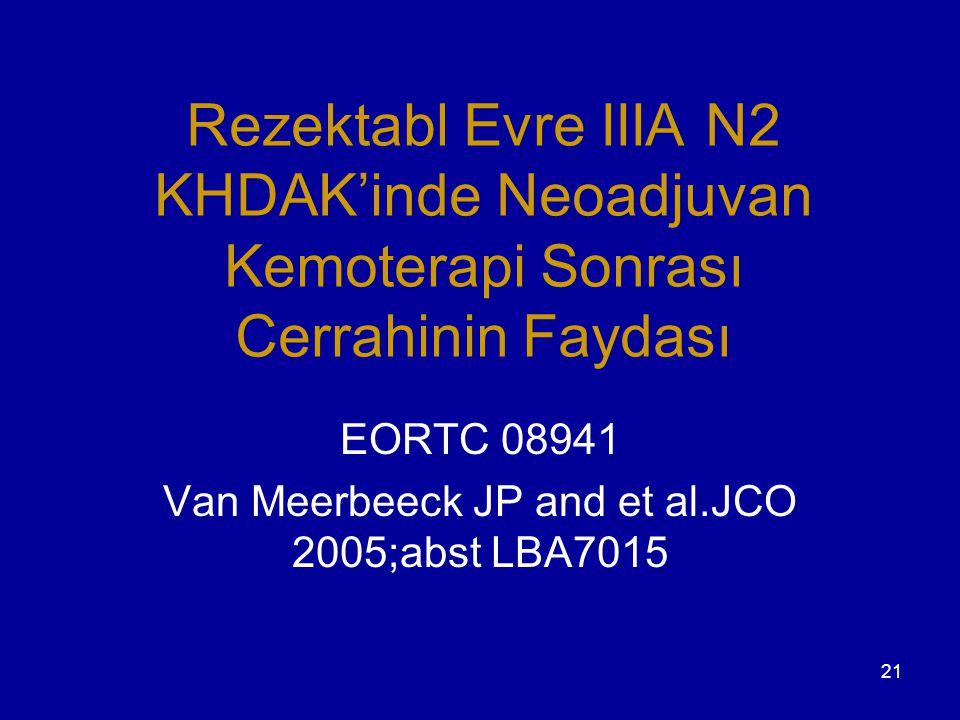 21 Rezektabl Evre IIIA N2 KHDAK'inde Neoadjuvan Kemoterapi Sonrası Cerrahinin Faydası EORTC 08941 Van Meerbeeck JP and et al.JCO 2005;abst LBA7015