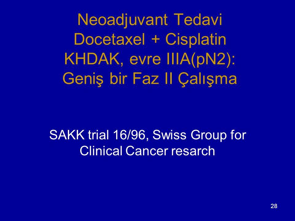 28 Neoadjuvant Tedavi Docetaxel + Cisplatin KHDAK, evre IIIA(pN2): Geniş bir Faz II Çalışma SAKK trial 16/96, Swiss Group for Clinical Cancer resarch