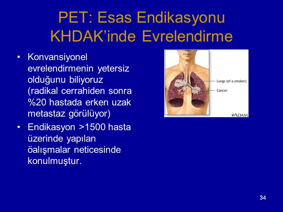 34 PET: Esas Endikasyonu KHDAK'inde Evrelendirme Konvansiyonel evrelendirmenin yetersiz olduğunu biliyoruz (radikal cerrahiden sonra %20 hastada erken