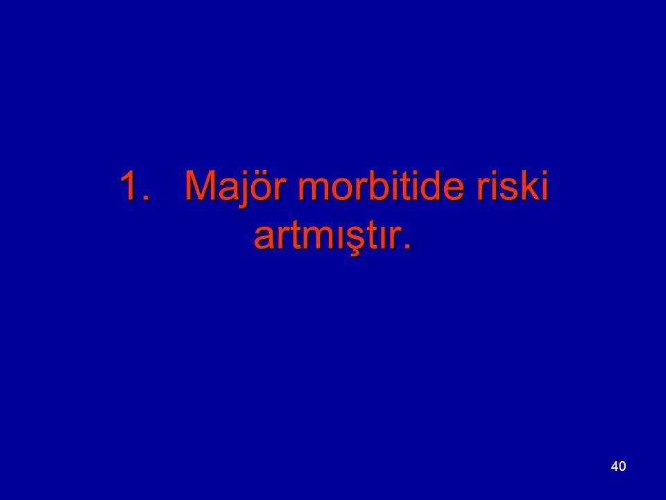 40 1.Majör morbitide riski artmıştır.