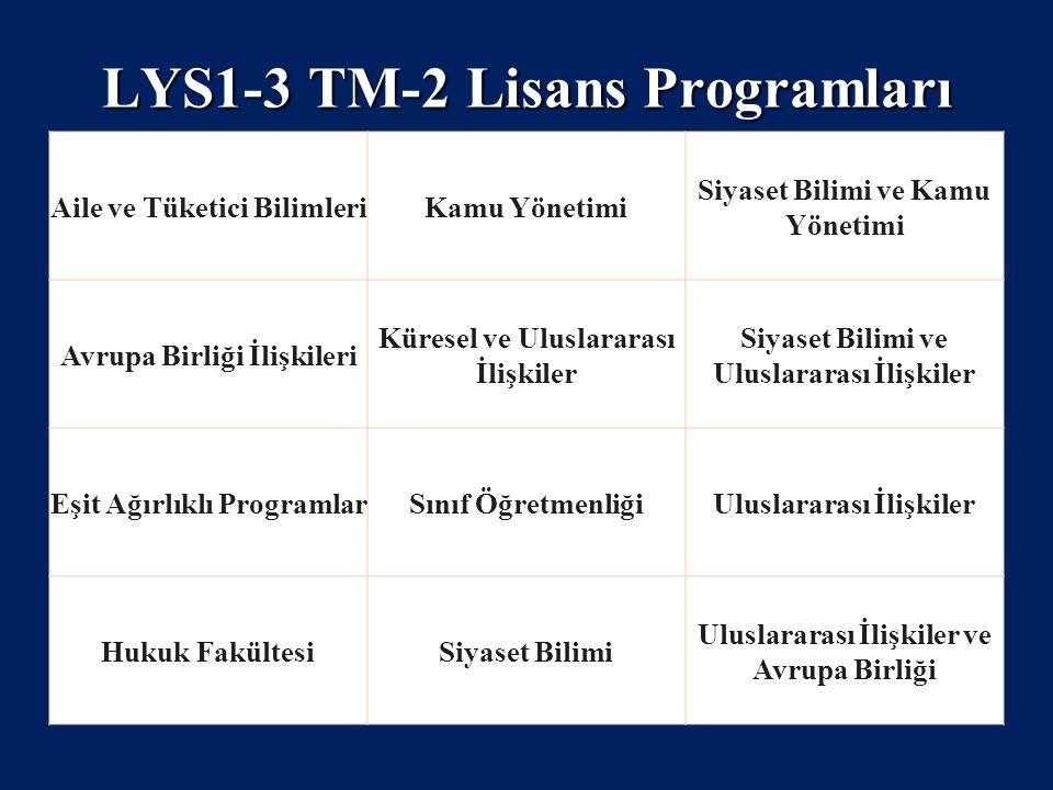 LYS1-3 TM-2 Lisans Programları Aile ve Tüketici BilimleriKamu Yönetimi Siyaset Bilimi ve Kamu Yönetimi Avrupa Birliği İlişkileri Küresel ve Uluslarara