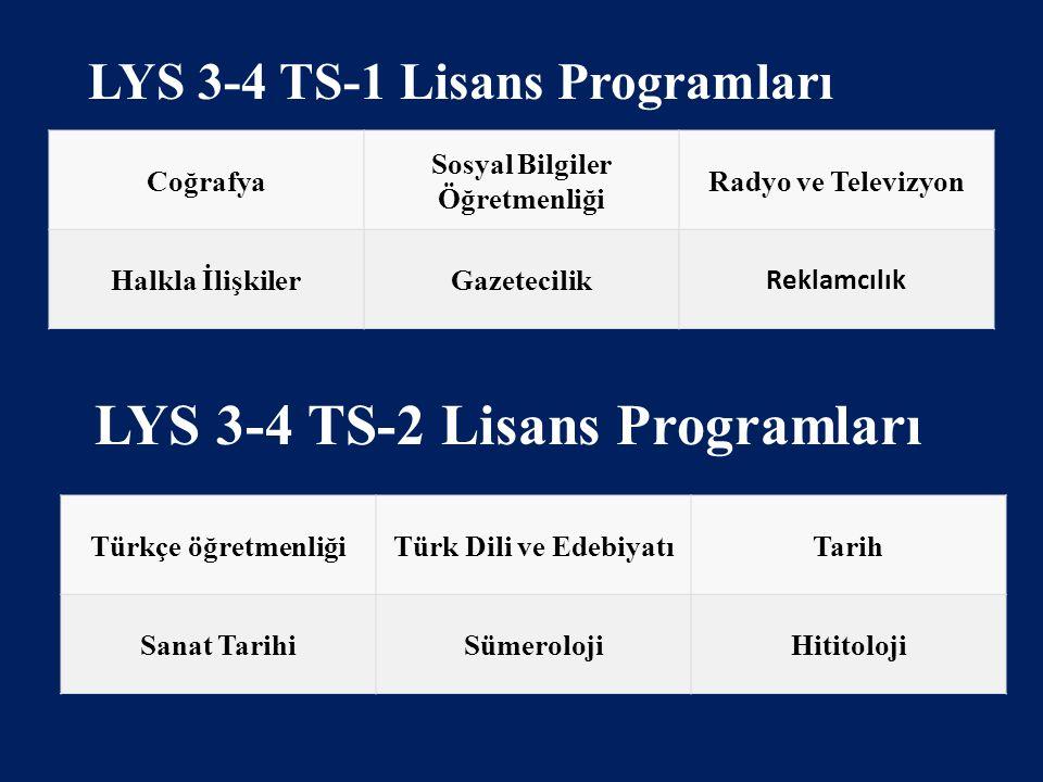 Coğrafya Sosyal Bilgiler Öğretmenliği Radyo ve Televizyon Halkla İlişkilerGazetecilik Reklamcılık LYS 3-4 TS-1 Lisans Programları LYS 3-4 TS-2 Lisans
