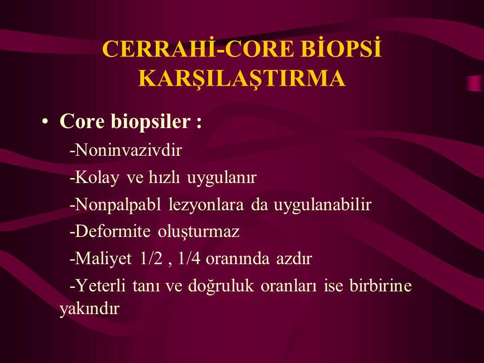 CERRAHİ-CORE BİOPSİ KARŞILAŞTIRMA Core biopsiler : -Noninvazivdir -Kolay ve hızlı uygulanır -Nonpalpabl lezyonlara da uygulanabilir -Deformite oluştur