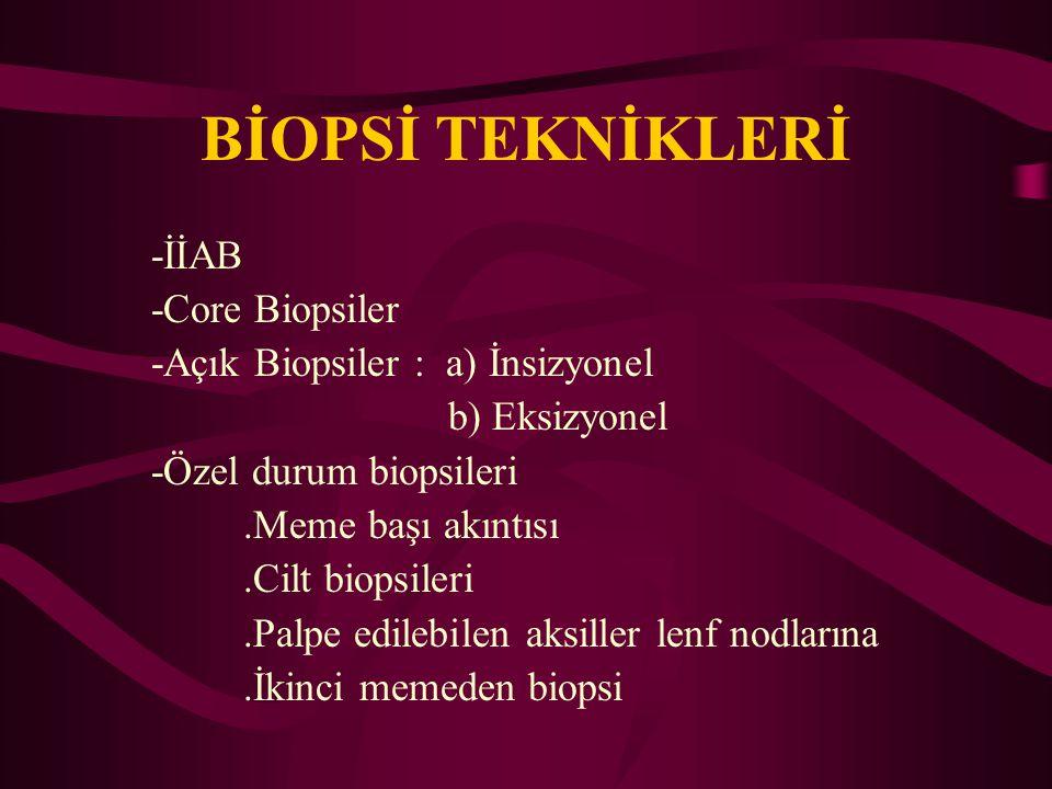 BİOPSİ TEKNİKLERİ -İİAB -Core Biopsiler -Açık Biopsiler : a) İnsizyonel b) Eksizyonel -Özel durum biopsileri.Meme başı akıntısı.Cilt biopsileri.Palpe