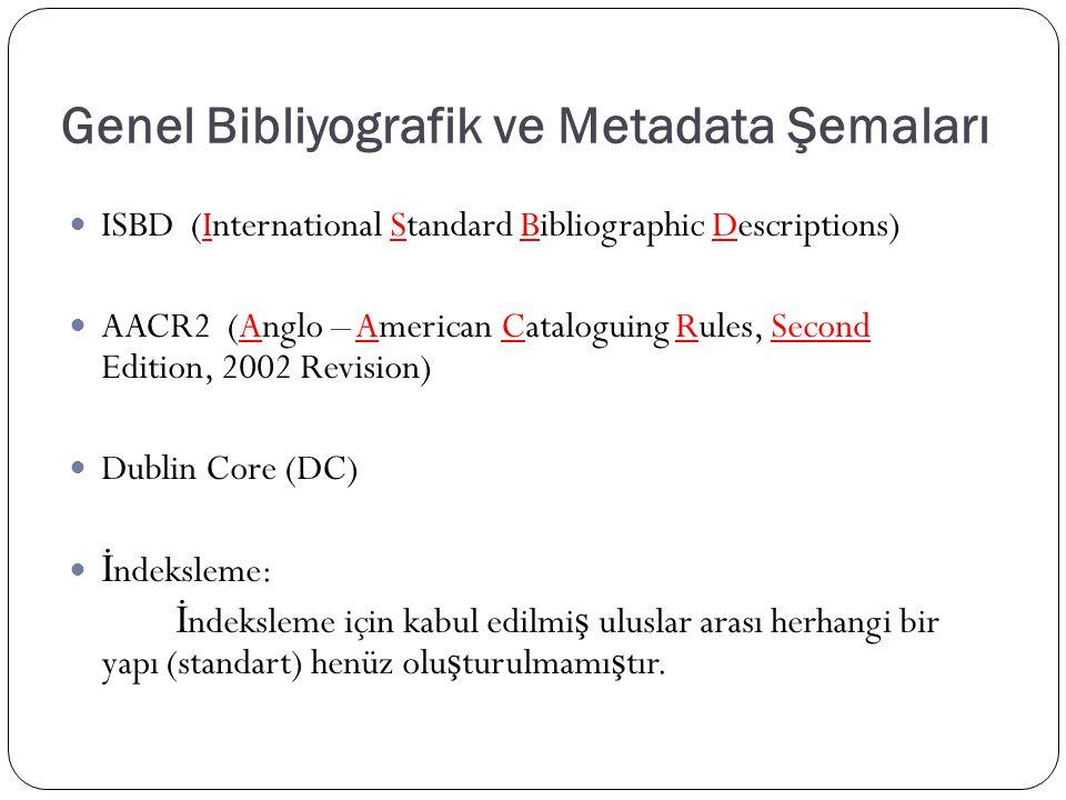Genel Bibliyografik ve Metadata Şemaları ISBD (International Standard Bibliographic Descriptions) AACR2 (Anglo – American Cataloguing Rules, Second Edition, 2002 Revision) Dublin Core (DC) İ ndeksleme: İ ndeksleme için kabul edilmi ş uluslar arası herhangi bir yapı (standart) henüz olu ş turulmamı ş tır.