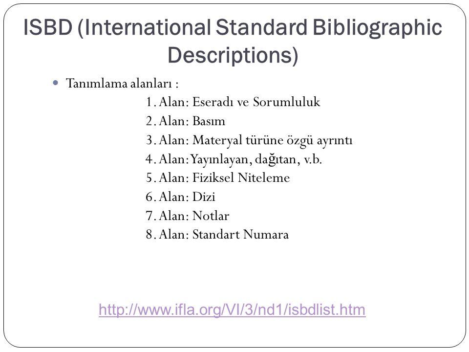 ISBD (International Standard Bibliographic Descriptions) Tanımlama alanları : 1. Alan: Eseradı ve Sorumluluk 2. Alan: Basım 3. Alan: Materyal türüne ö