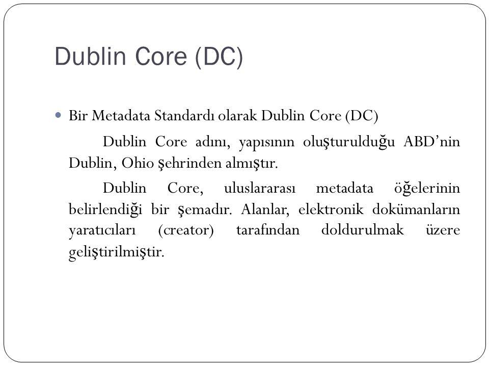 Dublin Core (DC) Bir Metadata Standardı olarak Dublin Core (DC) Dublin Core adını, yapısının olu ş turuldu ğ u ABD'nin Dublin, Ohio ş ehrinden almı ş tır.