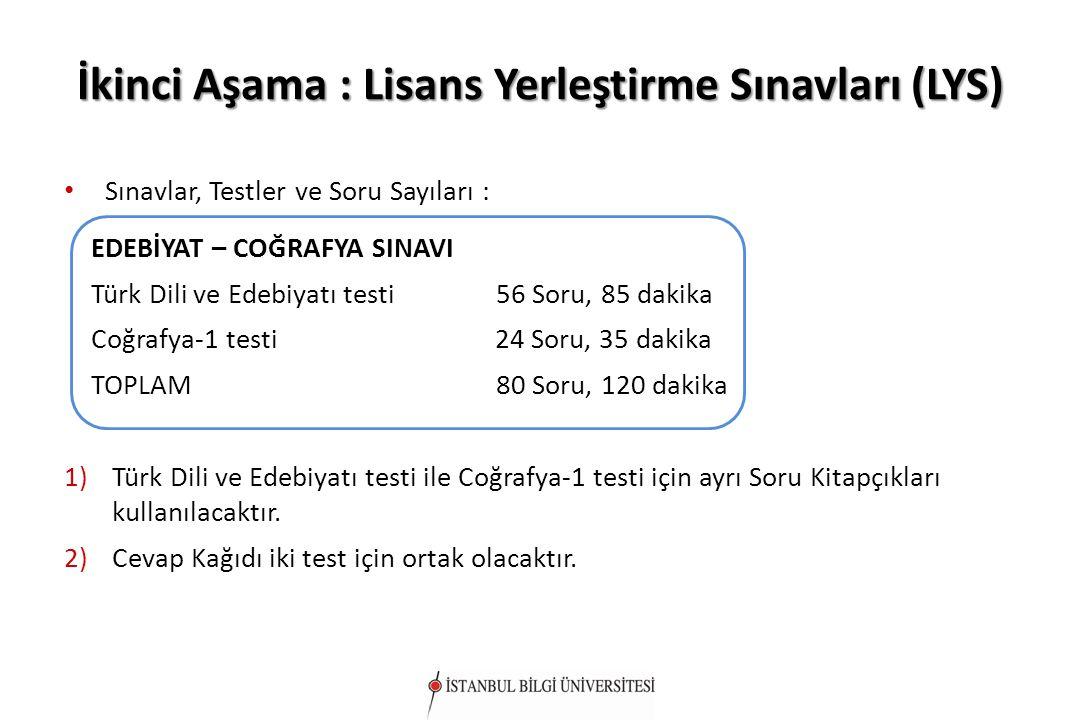 İkinci Aşama : Lisans Yerleştirme Sınavları (LYS) Sınavlar, Testler ve Soru Sayıları : Sınavlar, Testler ve Soru Sayıları : EDEBİYAT – COĞRAFYA SINAVI