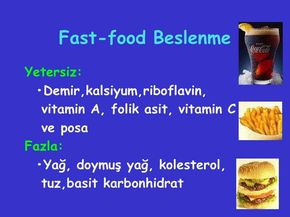 Fast-food Beslenme Yetersiz: Demir,kalsiyum,riboflavin, vitamin A, folik asit, vitamin C ve posa Fazla: Yağ, doymuş yağ, kolesterol, tuz,basit karbonh