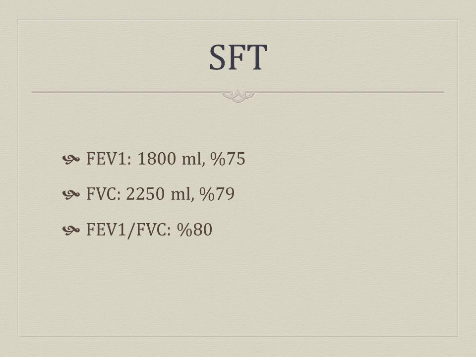 SFT  FEV1: 1800 ml, %75  FVC: 2250 ml, %79  FEV1/FVC: %80