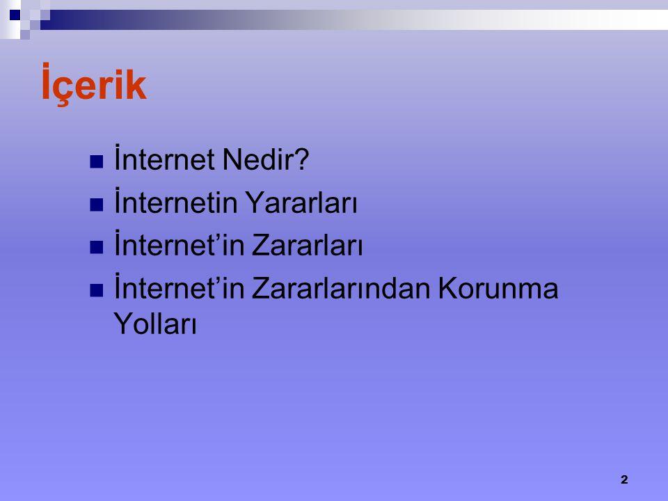 2 İçerik İnternet Nedir? İnternetin Yararları İnternet'in Zararları İnternet'in Zararlarından Korunma Yolları