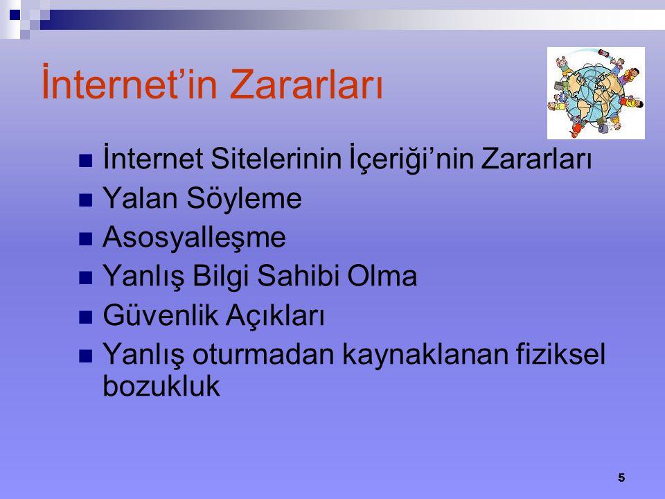 5 İnternet'in Zararları İnternet Sitelerinin İçeriği'nin Zararları Yalan Söyleme Asosyalleşme Yanlış Bilgi Sahibi Olma Güvenlik Açıkları Yanlış oturma