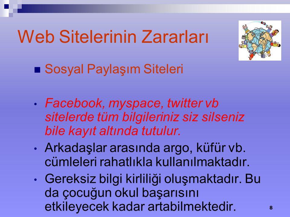 8 Web Sitelerinin Zararları Sosyal Paylaşım Siteleri Facebook, myspace, twitter vb sitelerde tüm bilgileriniz siz silseniz bile kayıt altında tutulur.