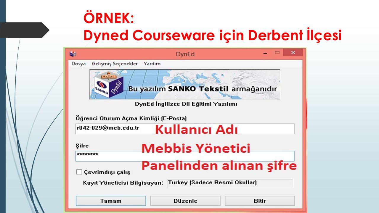 ÖRNEK: Dyned Courseware için Derbent İlçesi