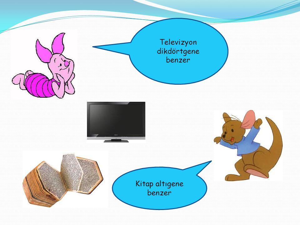 Televizyon dikdörtgene benzer Kitap altıgene benzer