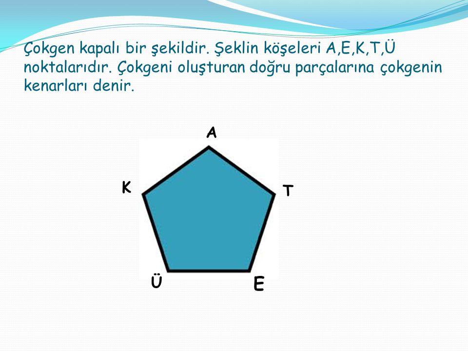 Çokgen kapalı bir şekildir. Şeklin köşeleri A,E,K,T,Ü noktalarıdır. Çokgeni oluşturan doğru parçalarına çokgenin kenarları denir. E T K A Ü