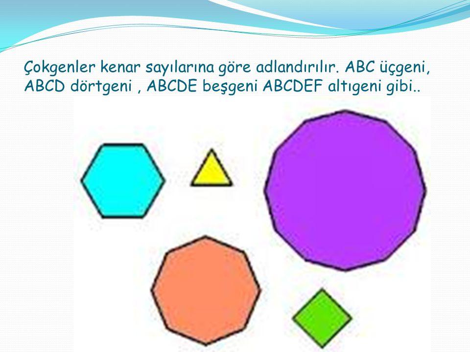 Çokgenler kenar sayılarına göre adlandırılır. ABC üçgeni, ABCD dörtgeni, ABCDE beşgeni ABCDEF altıgeni gibi..