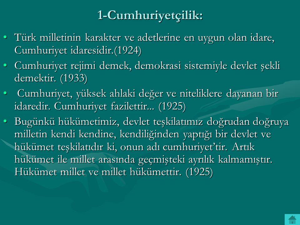 1-Cumhuriyetçilik: Türk milletinin karakter ve adetlerine en uygun olan idare, Cumhuriyet idaresidir.(1924)Türk milletinin karakter ve adetlerine en u