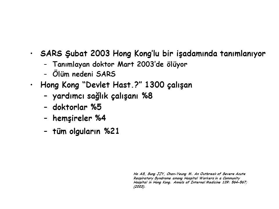 """SARS Şubat 2003 Hong Kong'lu bir işadamında tanımlanıyor –Tanımlayan doktor Mart 2003'de ölüyor –Ölüm nedeni SARS Hong Kong """"Devlet Hast.?"""" 1300 çalış"""