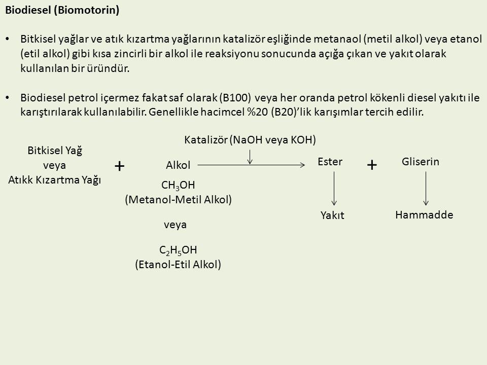 Biodiesel (Biomotorin) Bitkisel yağlar ve atık kızartma yağlarının katalizör eşliğinde metanaol (metil alkol) veya etanol (etil alkol) gibi kısa zincirli bir alkol ile reaksiyonu sonucunda açığa çıkan ve yakıt olarak kullanılan bir üründür.