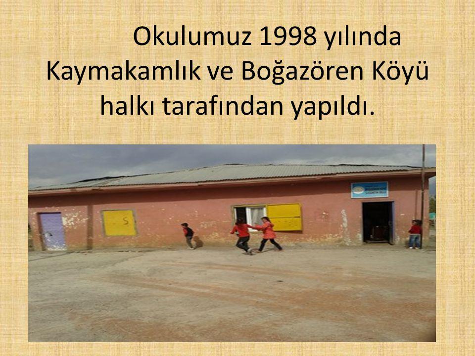 Okulumuz 1998 yılında Kaymakamlık ve Boğazören Köyü halkı tarafından yapıldı.
