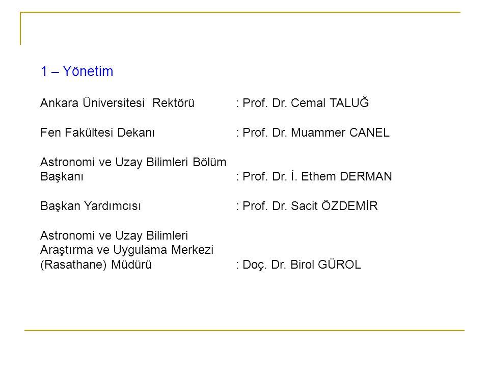 1 – Yönetim Ankara Üniversitesi Rektörü : Prof. Dr. Cemal TALUĞ Fen Fakültesi Dekanı: Prof. Dr. Muammer CANEL Astronomi ve Uzay Bilimleri Bölüm Başkan