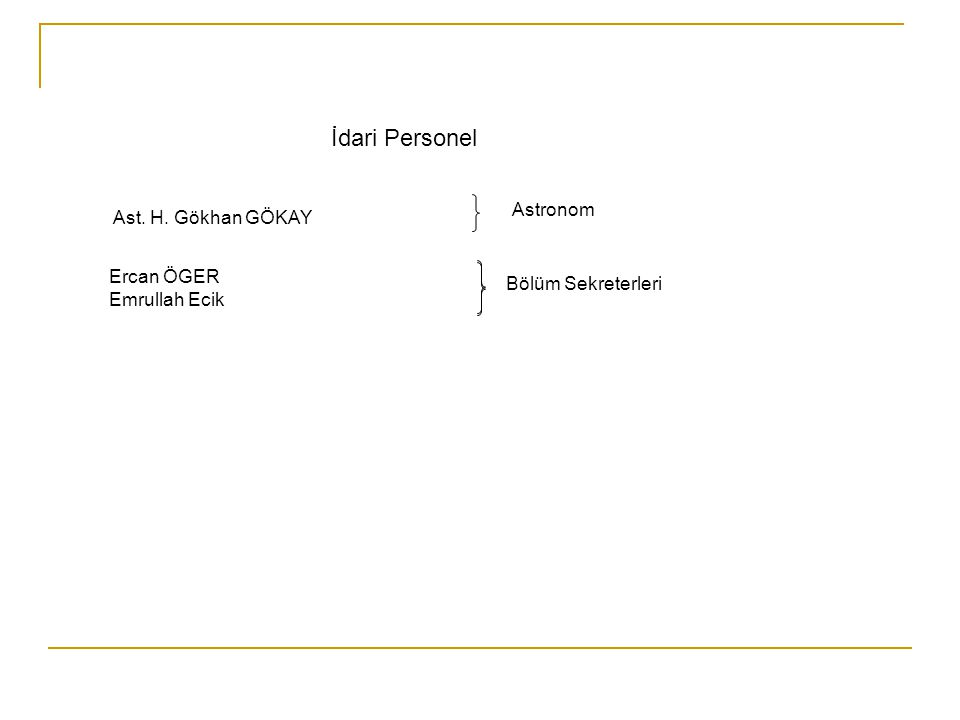 İdari Personel Ercan ÖGER Emrullah Ecik Bölüm Sekreterleri Astronom Ast. H. Gökhan GÖKAY